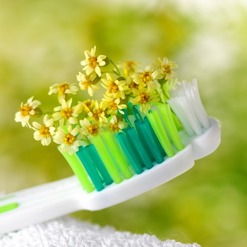 Toothbrush with tiny flowers. Healthcare