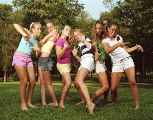 Group of teenage girls (14-16) posing, portrait