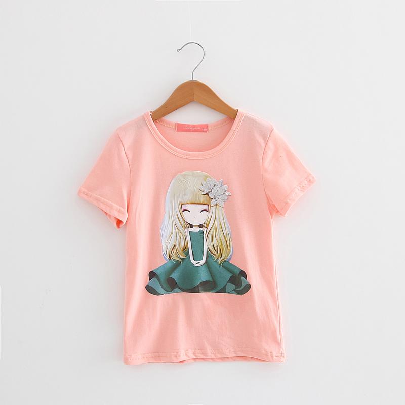 Девушки-Футболка-2017-хлопок-шорты-футболки-детей-детское-детские-футболки-одежда-cut-принцесса-белый-розовый-желтый