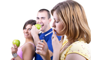 young people with healthy and unhealthy choices