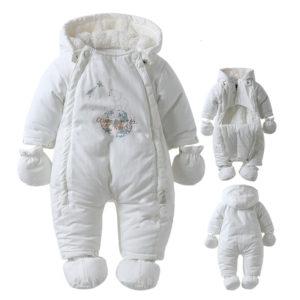 Зима-Детская-Одежда-Baby-Rompers-Руно-крышка-белый-и-черный-медведь-детский-комбинезон-ребенка-детский-зимний